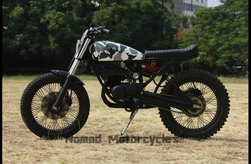Modified Yamaha RX 135 Scrambler Restoration by Studio 21 in