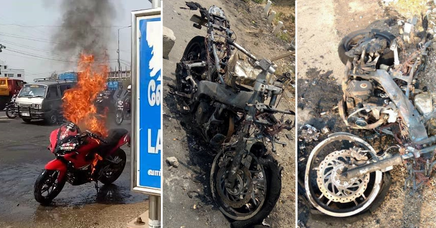 Bajaj Pulsar RS200 Catches Fire in Pasumalai, Tamil Nadu