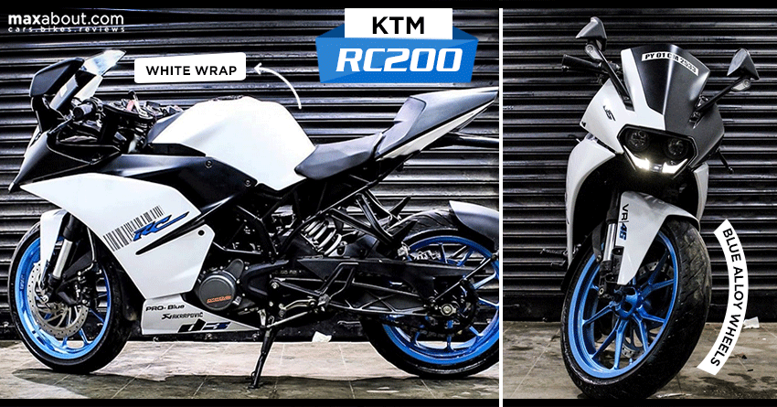 Custom Wraps: Meet White KTM RC 200 with Blue Alloy Wheels
