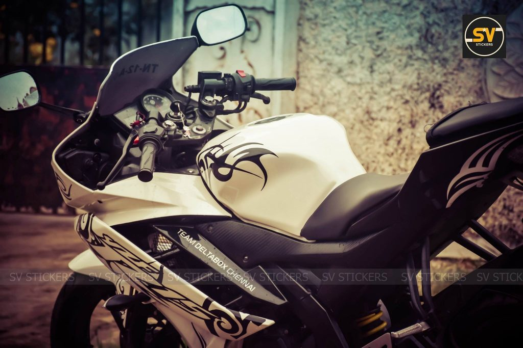 White Yamaha R15 V2 with Black Decals by SV Stickers