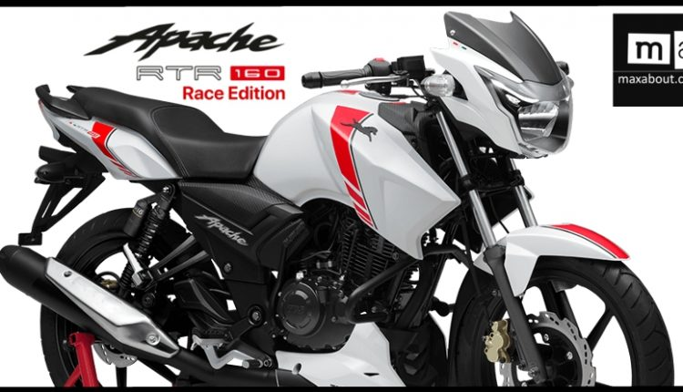 TVS Apache RTR 160 V2 Race Edition Launched @ INR 79,715