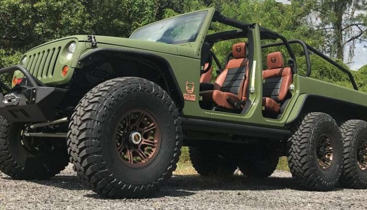 Awesomely Modified Army Green Jeep Wrangler 6×6