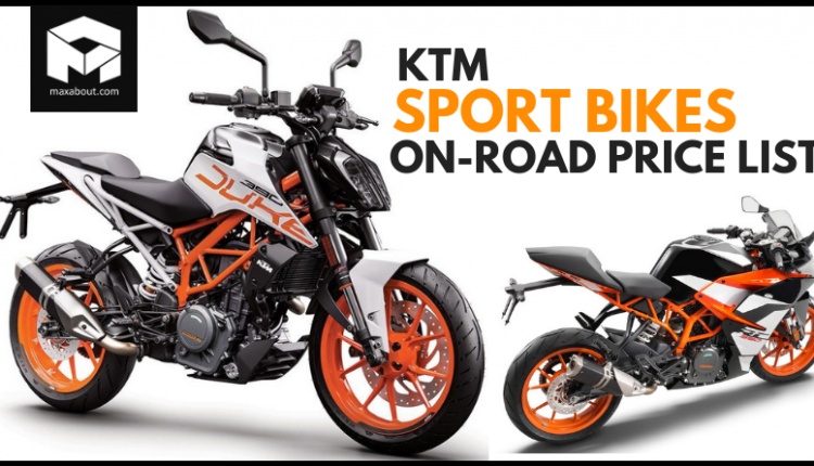 KTM Motorcycles On-Road Price List (November 2018)
