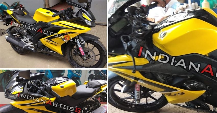 Yellow Yamaha R15 V3 Spotted at a Dealership in Bangalore