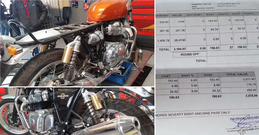 Royal Enfield Interceptor 650s 1st Service Bill Is Inr 2578 At 493 Kms