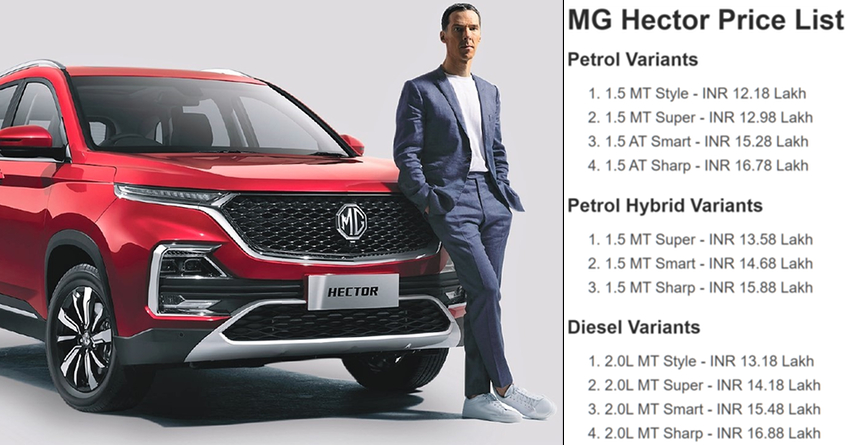 MG Hector SUV Price List Officially Revealed