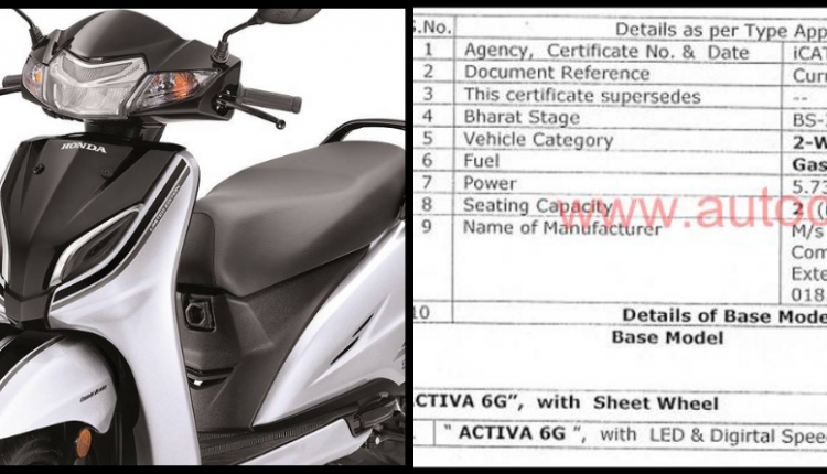 Honda Activa 6G Key Specifications Leaked Ahead of Launch
