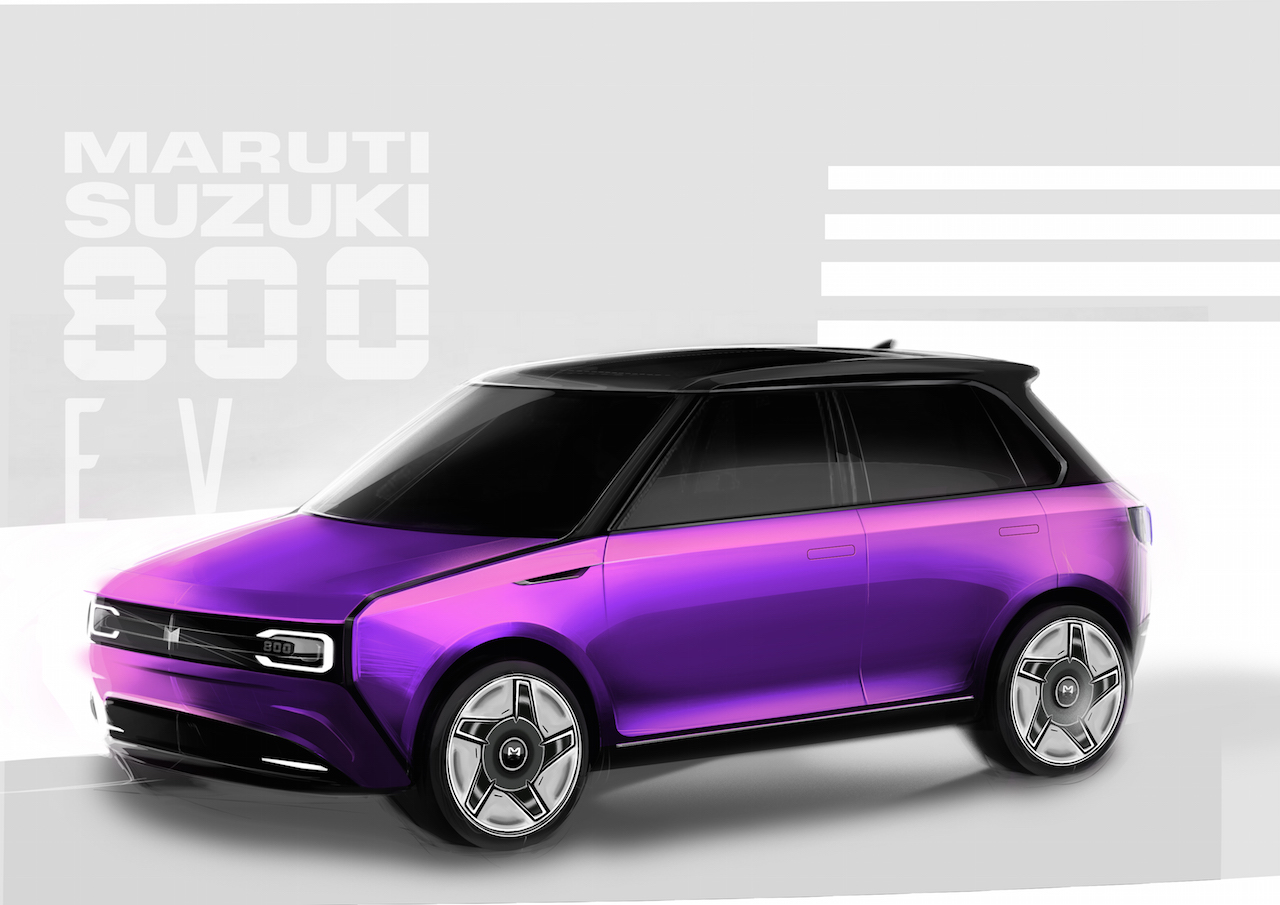 Maruti 800 Electric Car Rendering