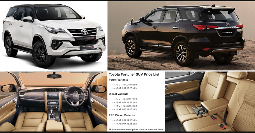 Toyota Fortuner SUV Variant-Wise Price List