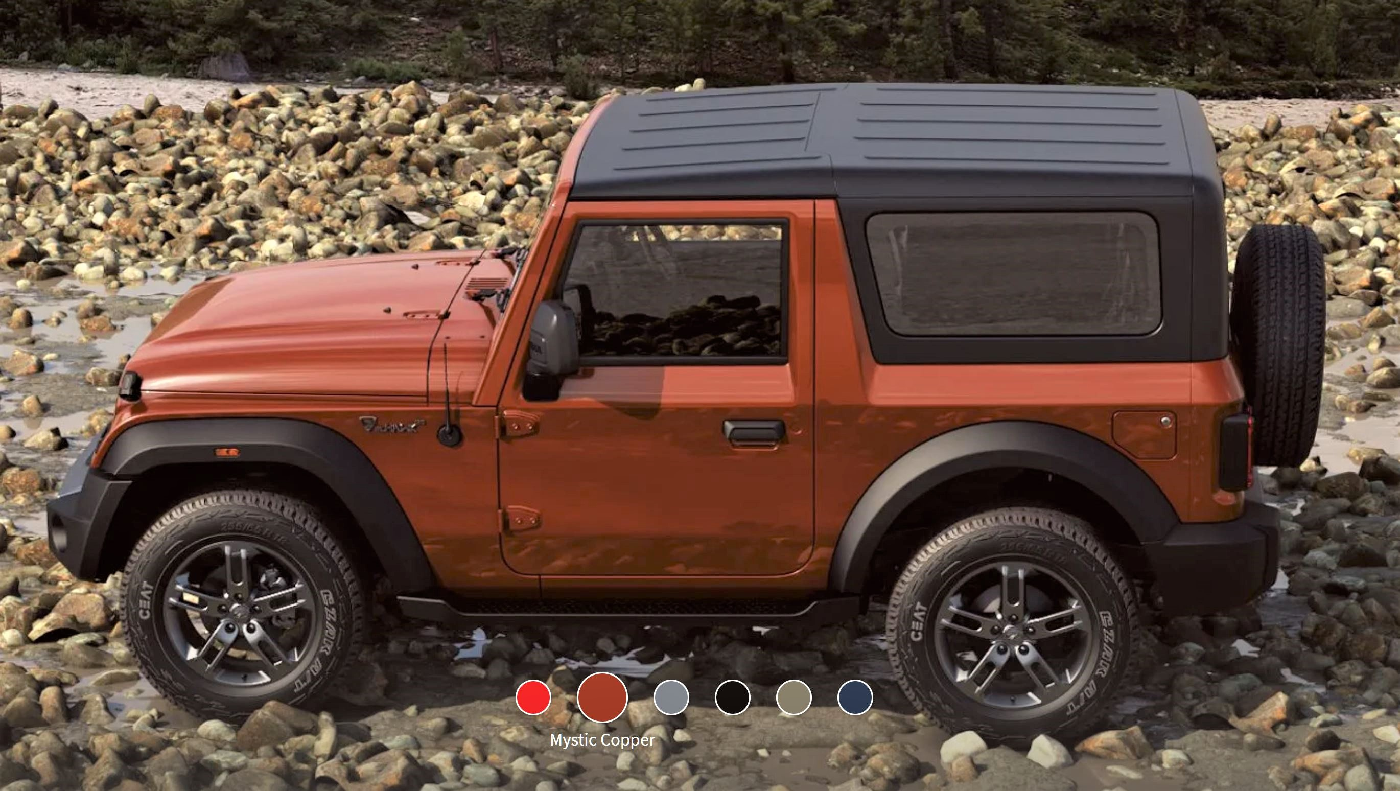 New Mahindra Thar Mystic Copper Side View
