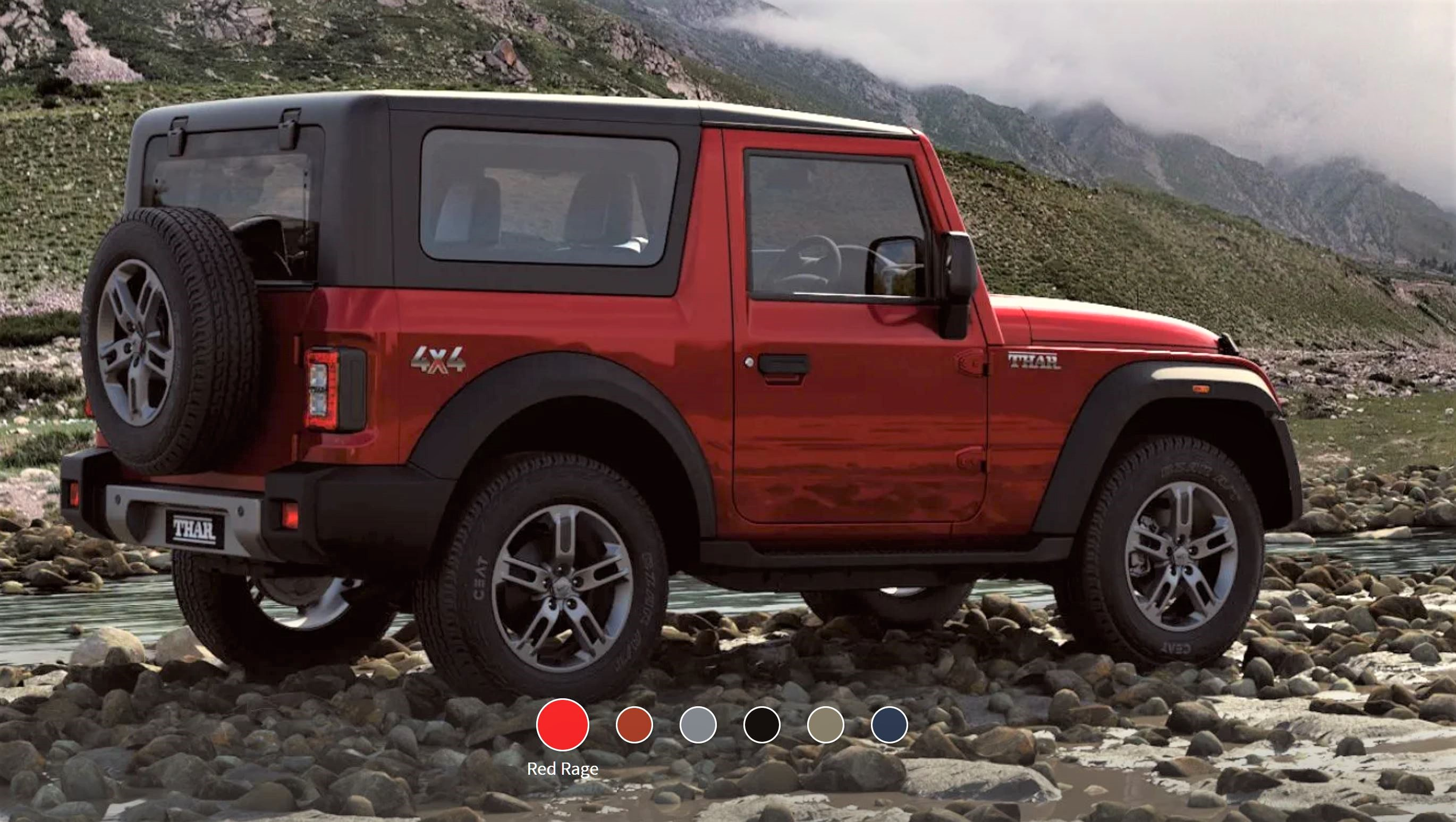 New Mahindra Thar Red Rage Rear 3-Quarter View