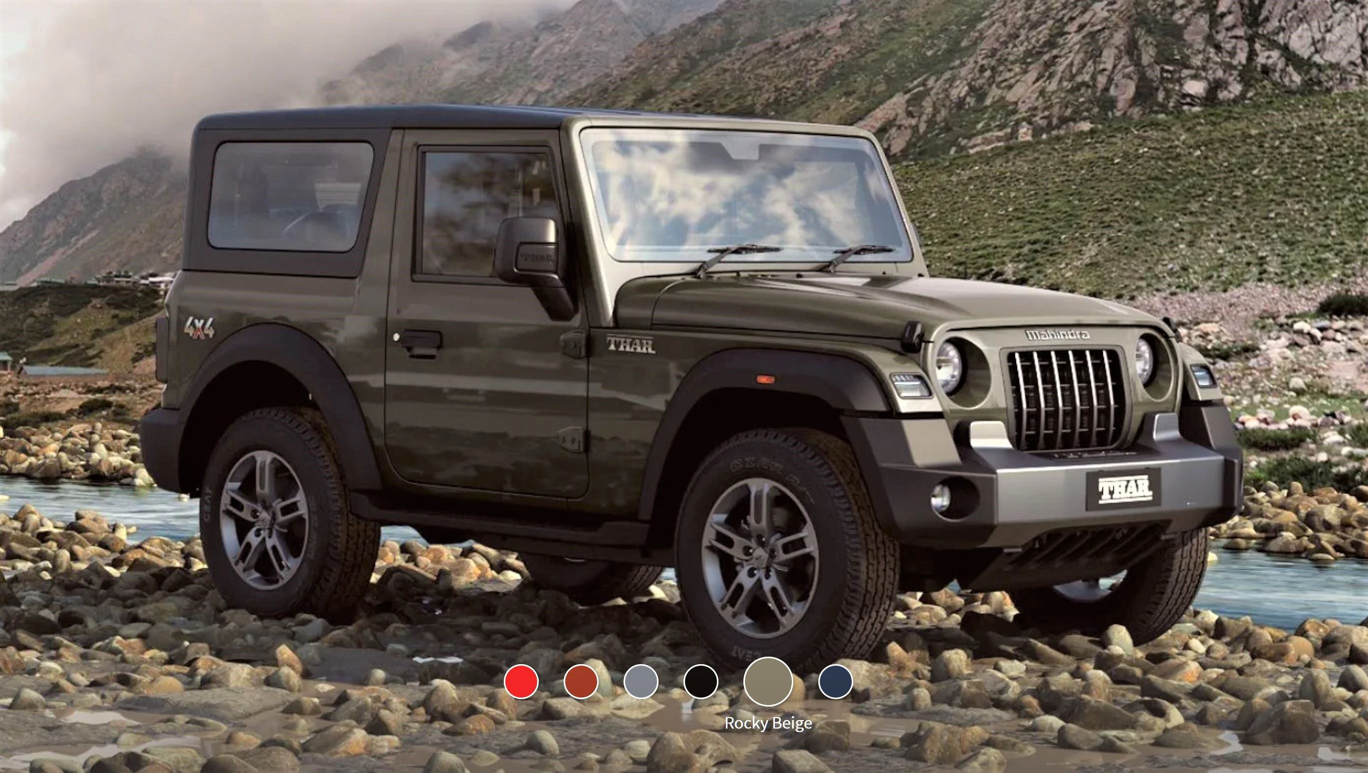 New Mahindra Thar Rocky Beige Front 3-Quarter View