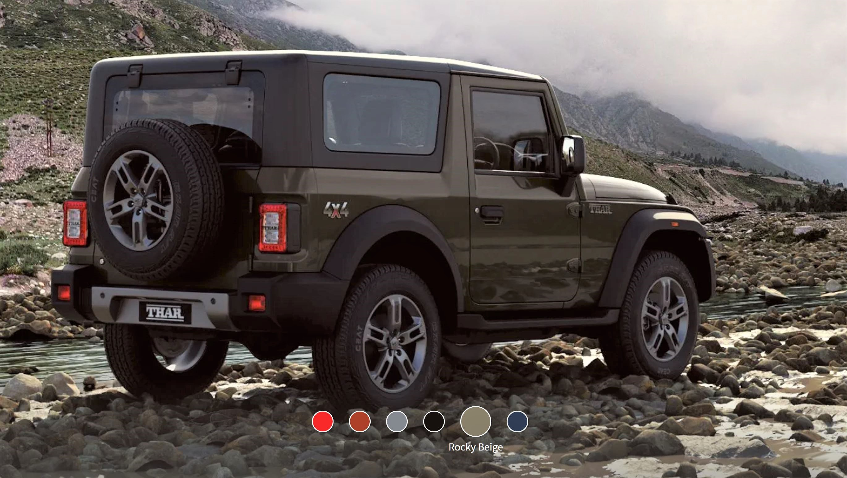 New Mahindra Thar Rocky Beige Rear 3-Quarter View