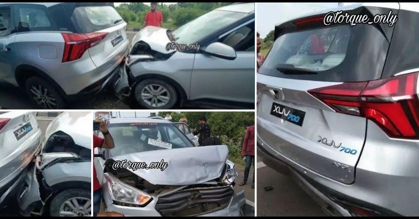 Mahindra XUV700 Accident with Hyundai Creta